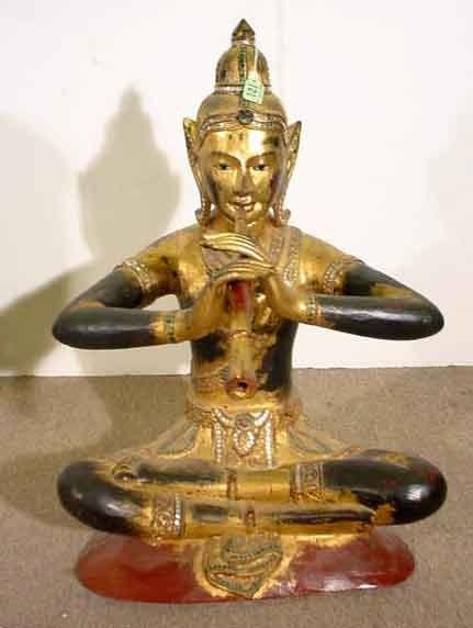 121: WELL CARVED SOUTHEAST ASIAN GILT DECORATED SEATED