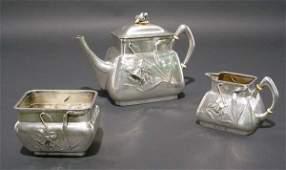 94: ELEGANT GERMAN 3-PIECE SILVER ART TEA SERVICE, 1880