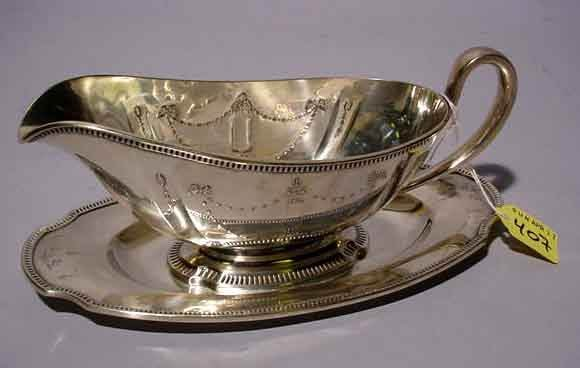 407: 'GROSVENOR'' EMBOSSED SILVERPLATED GRAVY BOAT WITH