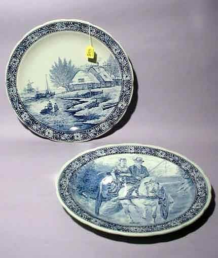 408: PR DELFT STYLE BLUE AND WHITE DECORATED CHARGERS,
