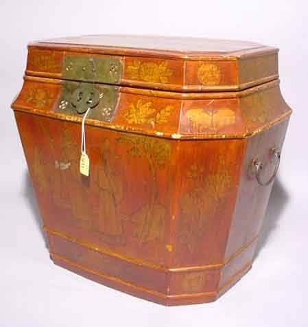 411: CHINESE LACQUERED OCTAGONAL HINGED BOX, having a t