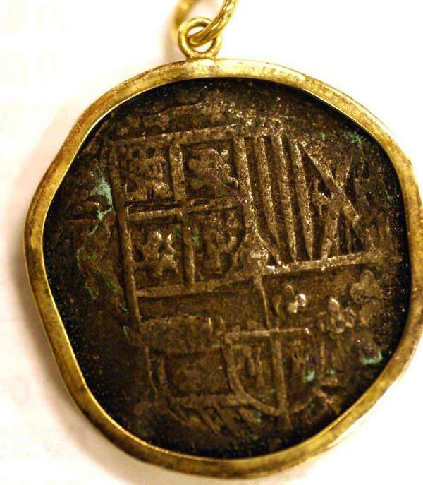 415A: SPANISH 1629 SHIPWRECK `PIECE OF EIGHT` ON 14K GO