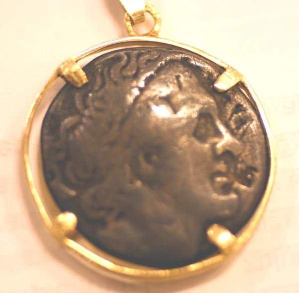 415B: EGYPT PTOLEMY I AR SILVER TETRADRACHM ON 14K GOLD