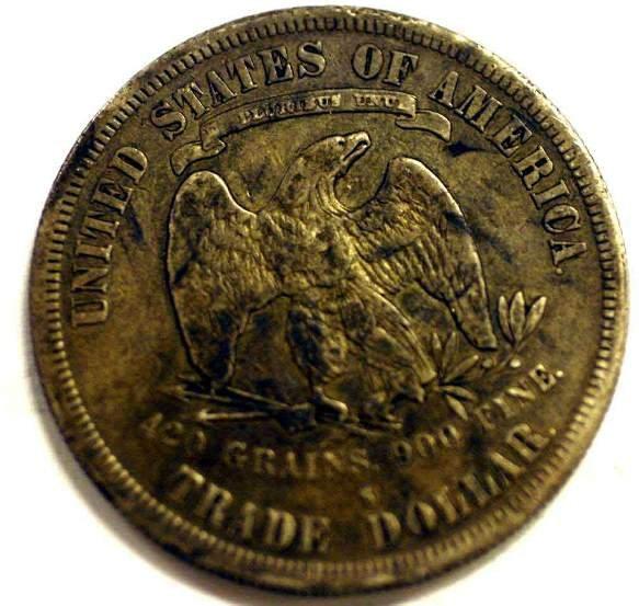 415H: U.S. 1878-S SILVER TRADE DOLLAR, VF condition cir