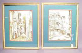 782 PAIR OF 20TH CENTURY PEN AND INK DRAWINGS image s