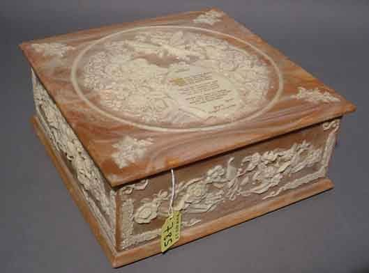 785: INCOLAY STONE JEWELRY BOX, ''Lady Dragonette'' by