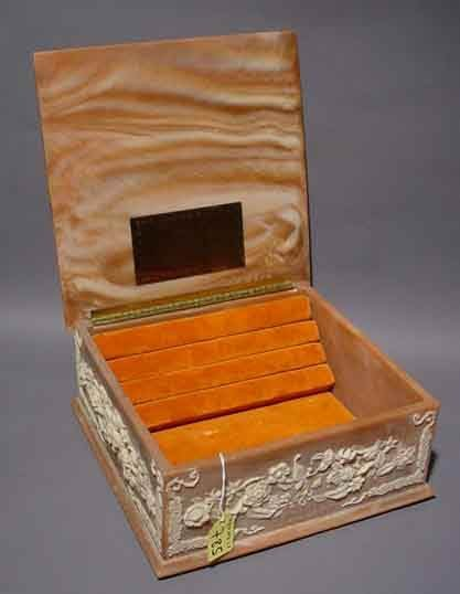 785: INCOLAY STONE JEWELRY BOX, ''Lady Dragonette'' by - 5