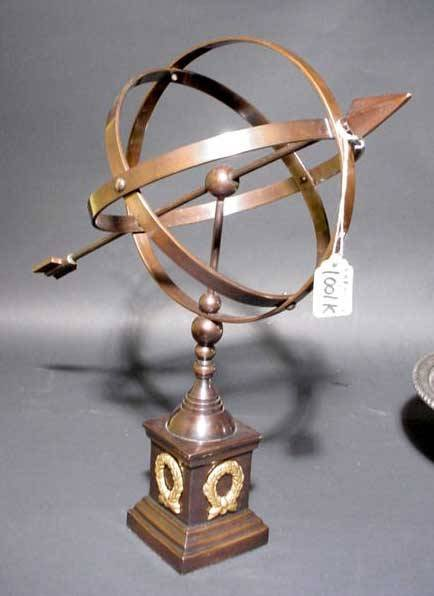 1001K: BRONZE FINISHED BRASS ARMILLARY SPHERE, supporte