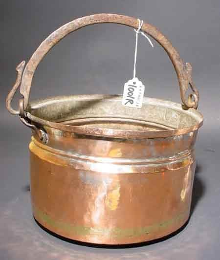 1001R: MIDEASTERN POLISHED COPPER BUCKET, of waisted ci