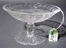 1002V: SMALL WATERFORD CUT CRYSTAL PEDESTAL COMPOTE, ''