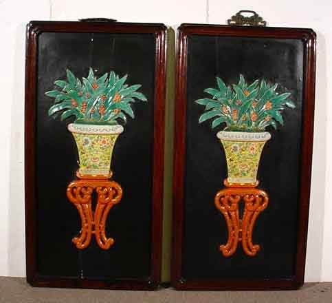 1124: PAIR OF DECORATIVE ROSEWOOD FRAMED CHINESE PORCEL