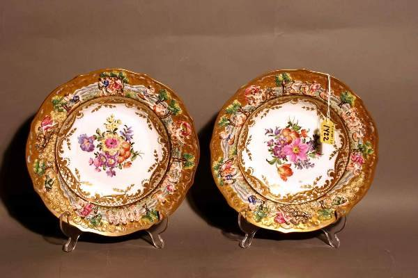 1422: PAIR OF CAPO DI MONTE FLORAL DECORATED AND GILDED
