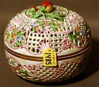 1485: CIRCULAR HEREND PORCELAIN RETICULATED COVERED POT