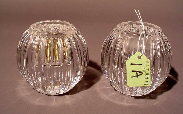 1A: PAIR OF BLOCK CUT CRYSTAL SPHERICAL CANDLEHOLDERS,