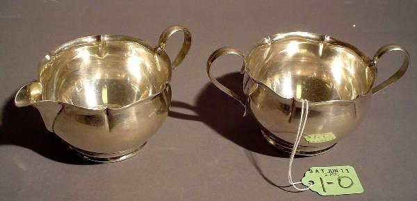 1O: GORHAM STERLING SUGAR AND CREAMER, with shaped crea
