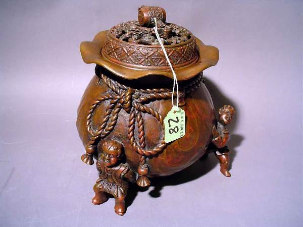 28: ORIENTAL PATINATED BRONZE COVERED INCENSE BURNER, m