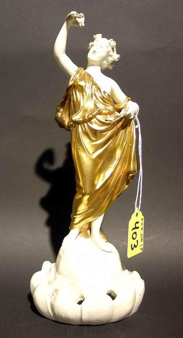 403: DRESDEN FIGURAL FLOWER HOLDER, depicting a woman i