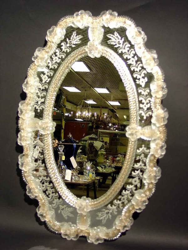 409A: VENETIAN ETCHED OVAL WALL MIRROR; 28 inches by 18