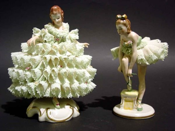 410A: PAIR OF IRISH LACY DRESDEN FIGURES, including a b