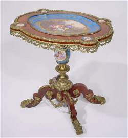 620: c1880 LOUIS PHILIPPE SEVRES MOUNTED PEDESTAL TABLE
