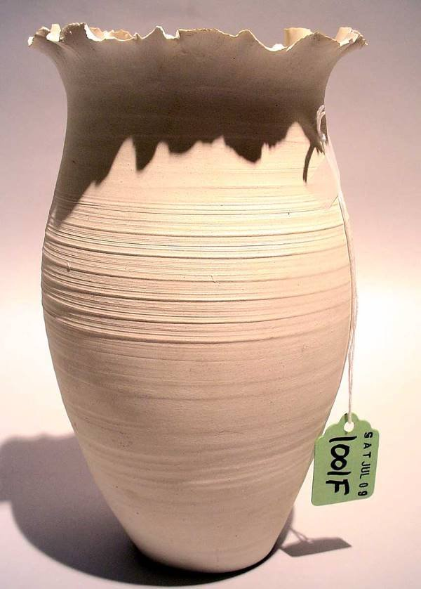 1001F: HAND THROWN POTTERY VASE, signed Fritze, having