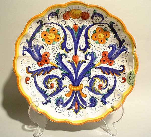 1001T: CONTINENTAL COLORFUL FAIENCE SERVING DISH,