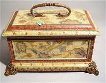 1095: GILDED AND DECORATED COMPOSITION COVERED BOX, ''P