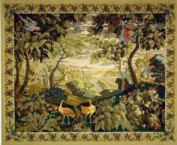 1132: FRENCH NEEDLEPOINTED WOOL TAPESTRY, early 20th ce