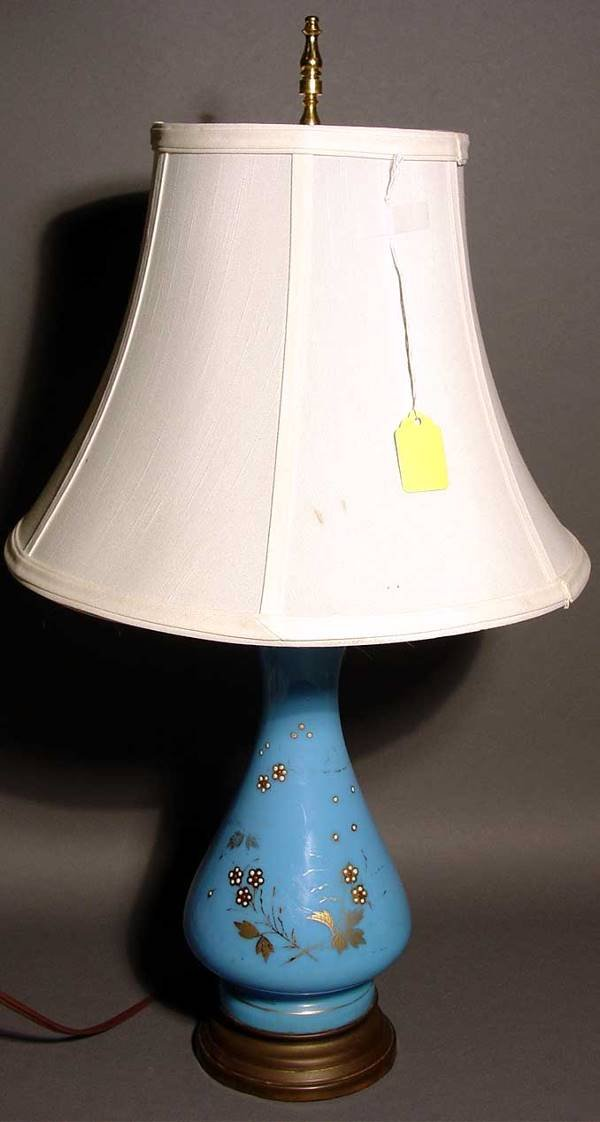 1409: BRISTOL GLASS VASE CONVERTED TO A TABLE LAMP, 19c