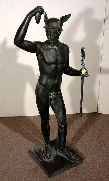 1622: WELL MODELED VERDIGRIS PATINATED BRONZE FIGURE OF