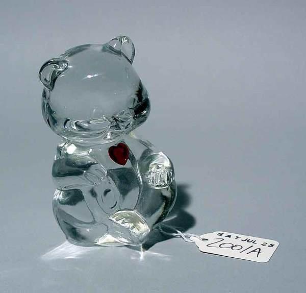 2001A: FENTON CRYSTAL FIGURE OF A TEDDY BEAR, decorated