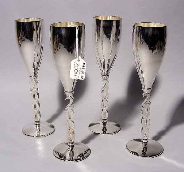 2001F: SET OF FOUR MILLENIUM SILVERPLATED WINE STEMS, d