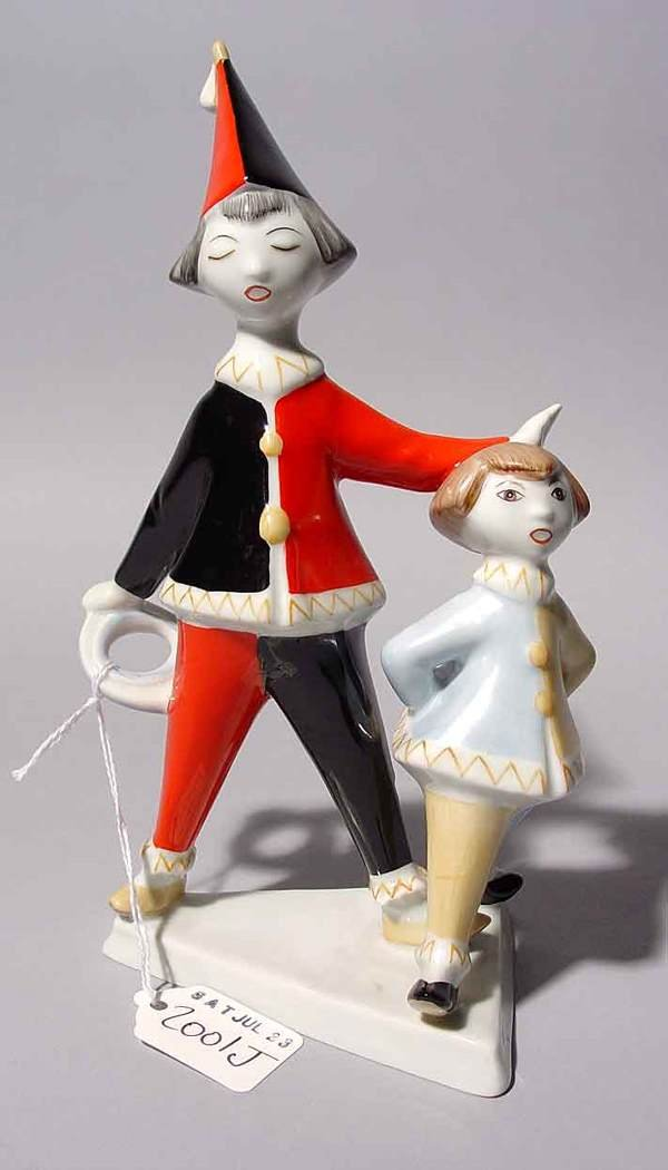 2001J: HUNGARIAN HOLLOHAZA PORCELAIN GROUP OF TWO YOUNG
