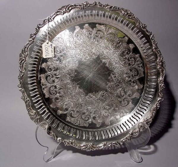 2001L: SILVERPLATED CIRCULAR RETICULATED SERVING TRAY,