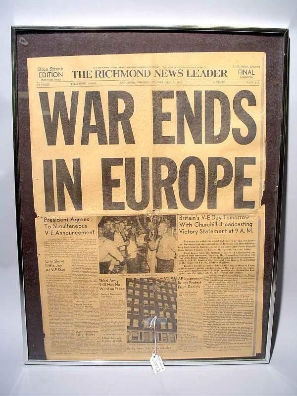 2001Q: WAR ENDS IN EUROPE - FRAMED UNDER GLASS, 5-7-45