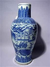 2104: CHINESE 19th c BLUE-WHITE BALUSTER PORCELAIN VASE