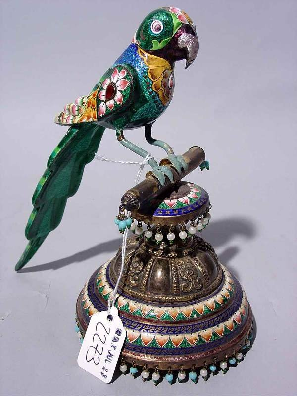 2273: WELL DETAILED CHINESE ENAMEL AND BRASS PARROT,
