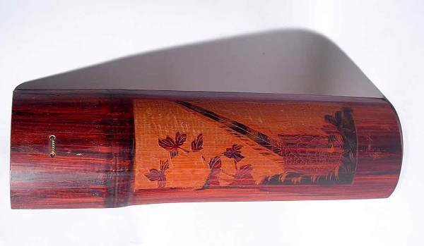 1F: JAPANESE CARVED BAMBOO HALF-SECTION WALL PLAQUE, th
