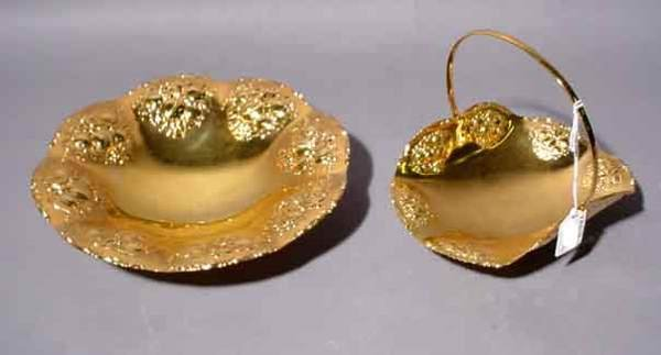 1G: LOT OF TWO EMBOSSED BRASS DISHES, with floral decor