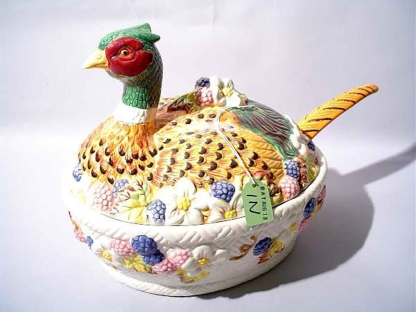 1N: FLORAL CERAMIC COVERED TUREEN, modeled as turkey,