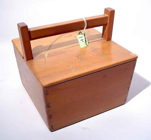 1P: c1920 JAPANESE INCISE NATIVE HARDWOOD LIDDED BOX,
