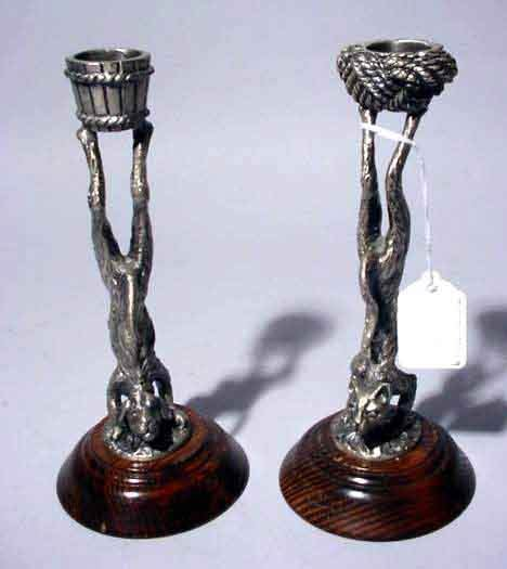 1S: PR CAST PEWTER METAL CAT AND DOG CANDLEHOLDERS, on