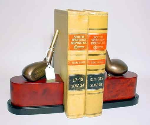 1T: PR BRONZE FINISHED BRASS GOLF DRIVER BOOKENDS, the
