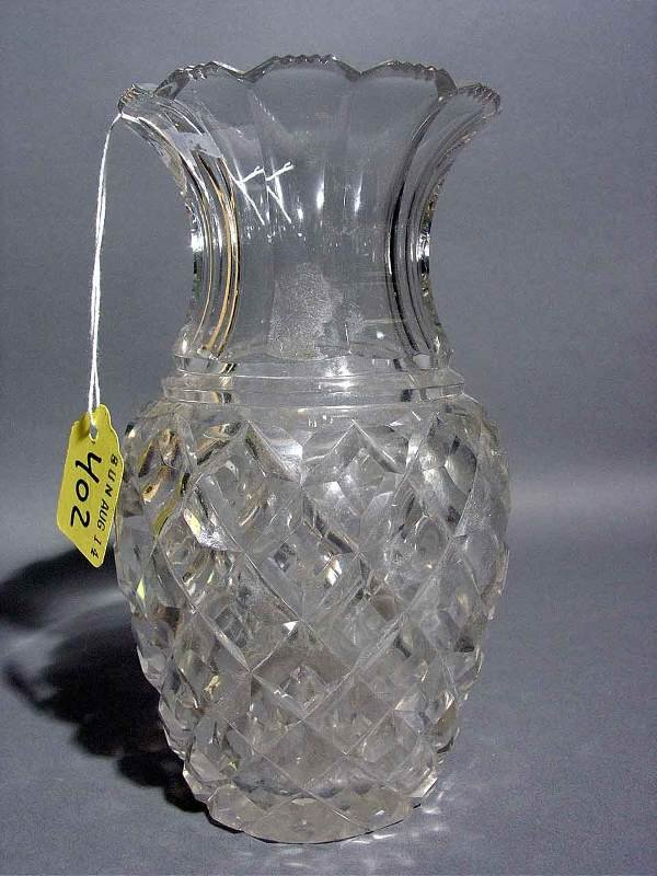 402: SMALL MOULDED GLASS VASE, of pineapple form; 6-3/4