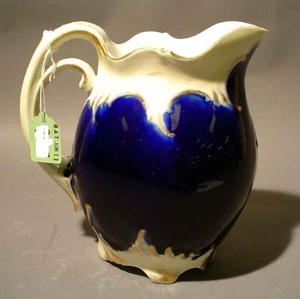 404: 19c COBALT AND GILT DECORATED SMALL JUG, late