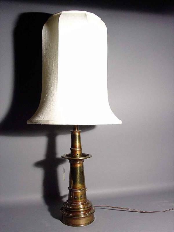 414: POLISHED BRASS TABLE LAMP, Lighthouse shape