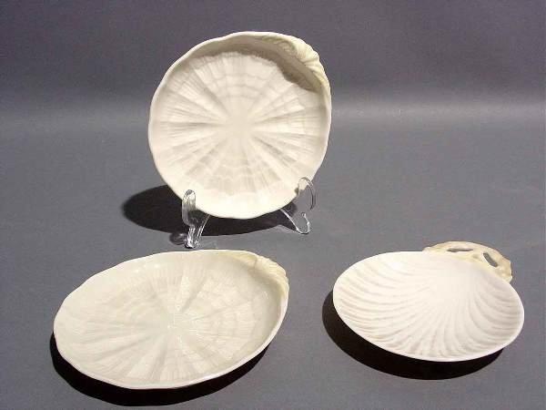 420D: LOT OF THREE IRISH BELLEEK PLATES, one a shell pl