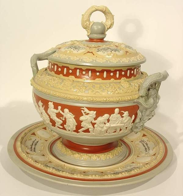 570: METTLACH DECORATED STONEWARE COVERED TUREEN-UNDERD