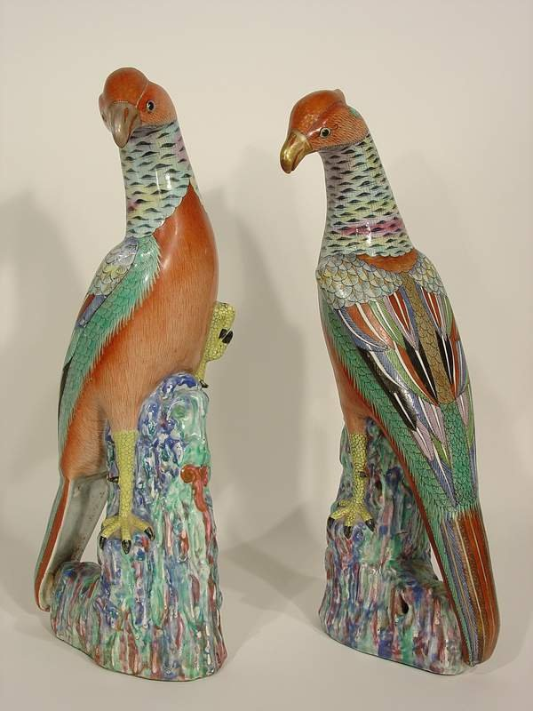 585: c1900 PR FINE CHINESE EXPORT PORC PHOENIX BIRDS