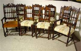 620: 18c SUPERB SET 8 EARLY SPANISH SPINDLEBACK CHAIRS,